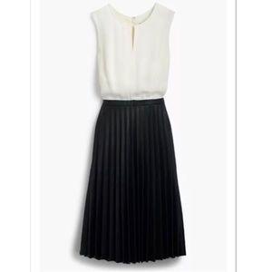 J. Crew Two Tone Midi Dress Pleated Skirt Size 8